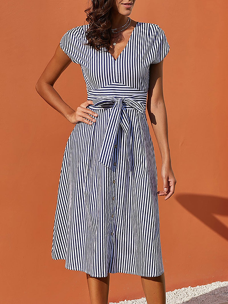 Stripes Lace Up Casual Sleeveless Dress