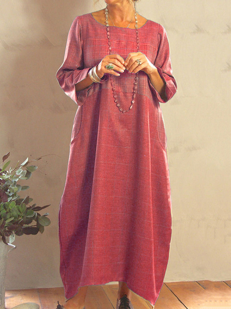 Long Sleeve Plain Cotton-Blend Maxi Dress