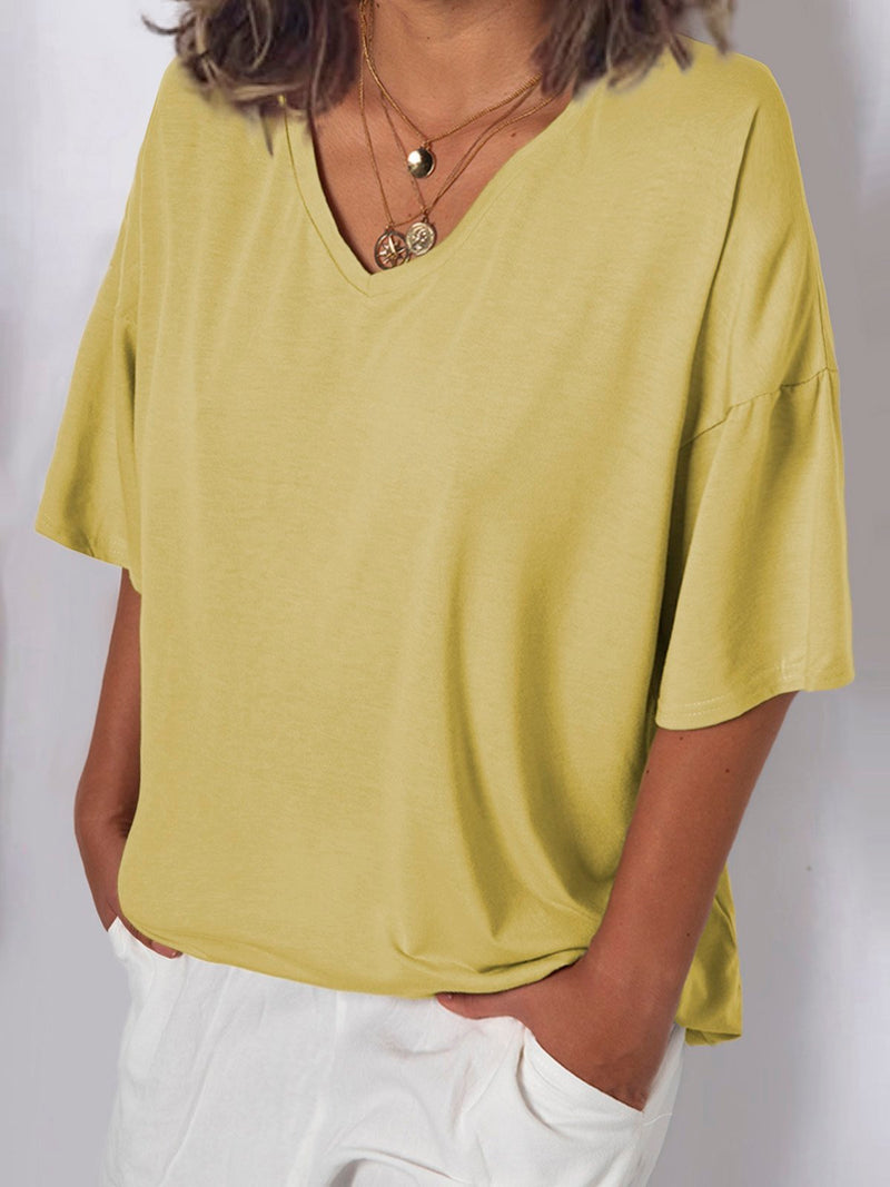Women V Neck Cotton T Shirt Top Tunic