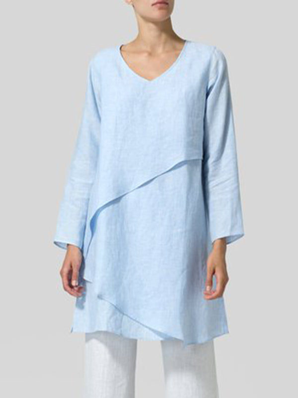 Casual Linen Solid  V neck Long Sleeve Tops