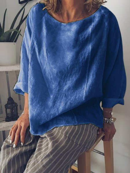 Cotton-Blend Long Sleeve Casual T-Shirt