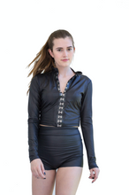 Load image into Gallery viewer, Rock Star Faux Leather Long Sleeve Crop Top