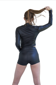 Rock Star Faux Leather Long Sleeve Crop Top