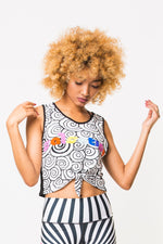 Make Waves Crop Top - Multi/Black+White