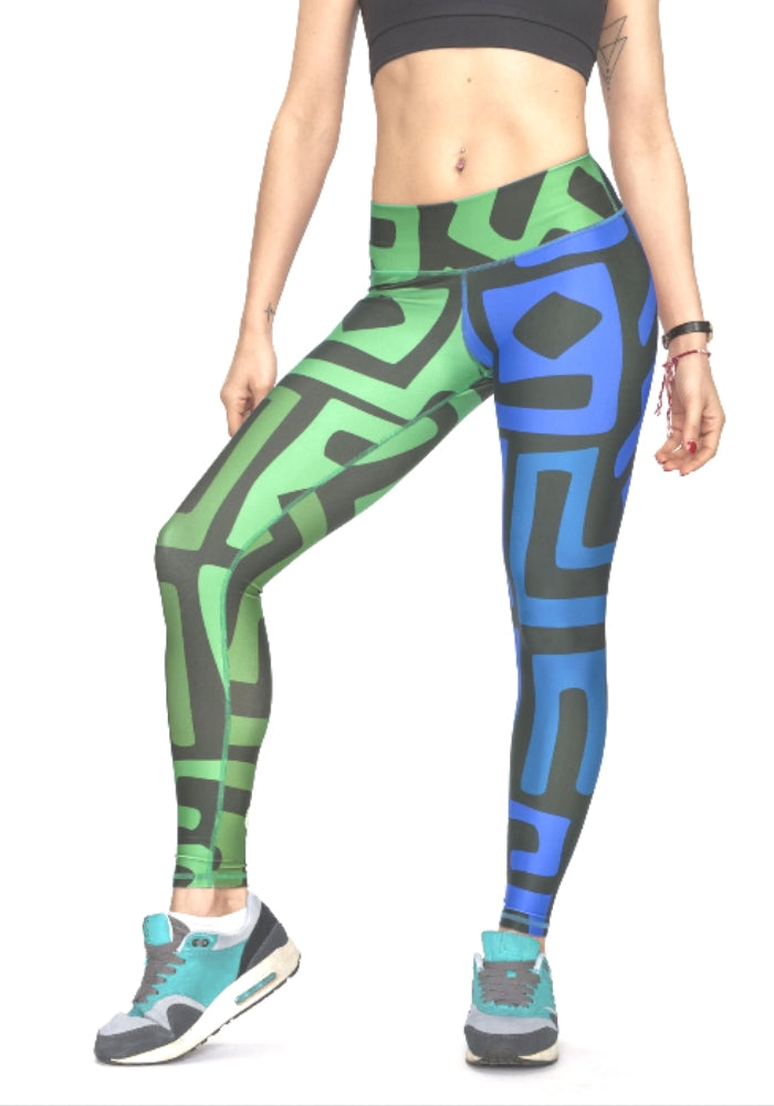 African Sound Leggings - Green/Blue