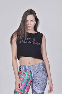 Love Salsation Crop Top - Black/White+Salsation Pink