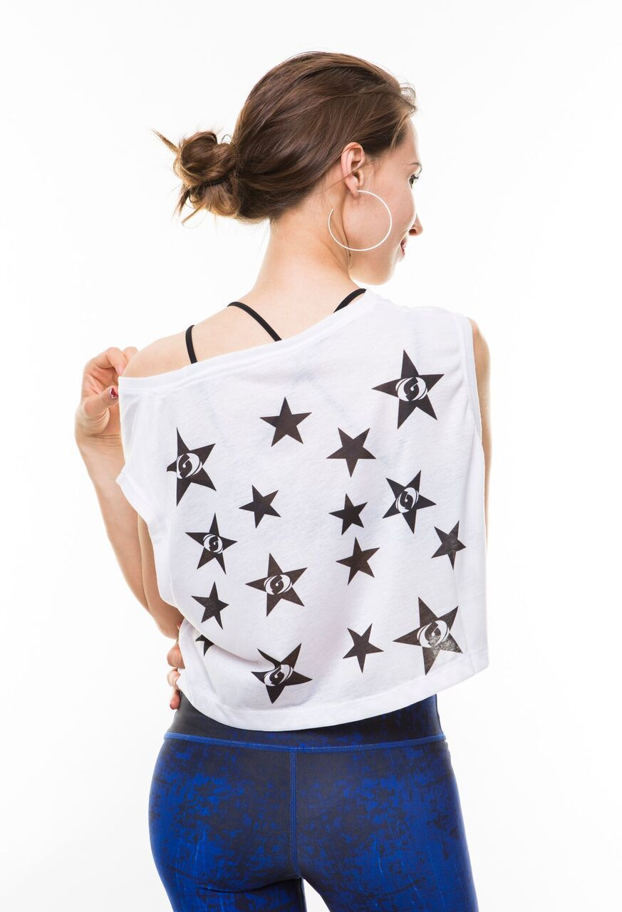 Stardust Crop Top-Blue/Black