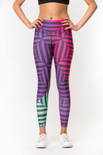 Out of the Box Leggings - Purple/Green