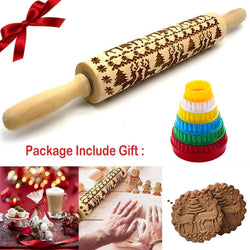 Rolling pin with embossing Christmas rolling pin engraved carved wood rolling pin kitchen tool rolling pin with embossing Christmas moose patterns embossing roll wood baking accessories by Hilareco - 14.8 ''
