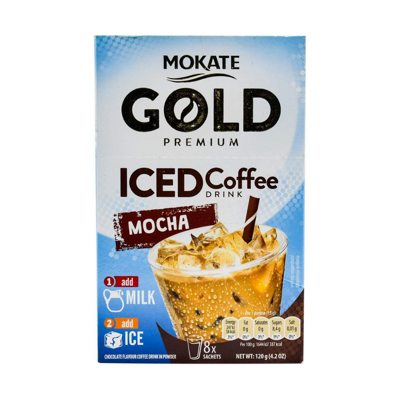 Case Of 12 x Mokate Gold Premium Iced Mocha Coffee Drink 8 Sachets