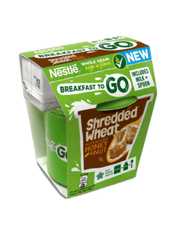 Box Of 4 Shredded Wheat Honey & Nut Breakfast To Go Includes Cereal & Milk