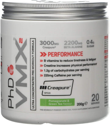 PhD Nutrition VMX2 Pre-Workout, Green Tea and Pomegranate,200 g