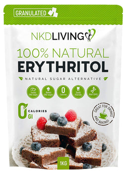 NKD Living 100% Natural Erythritol 1 Kg | Granulated ZERO Calorie Sugar Replacement