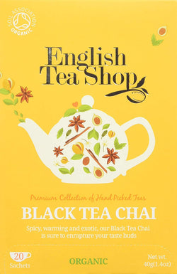 English Tea Shop Organic Black Tea Chai - 20 Paper Tea bag