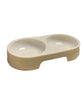 Pet Food Double Bowl - White