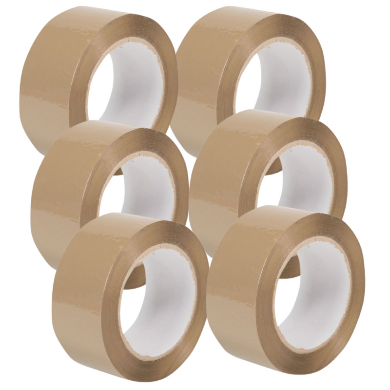 6 x Large Extra Sticky Brown Tape 48mm x 66m