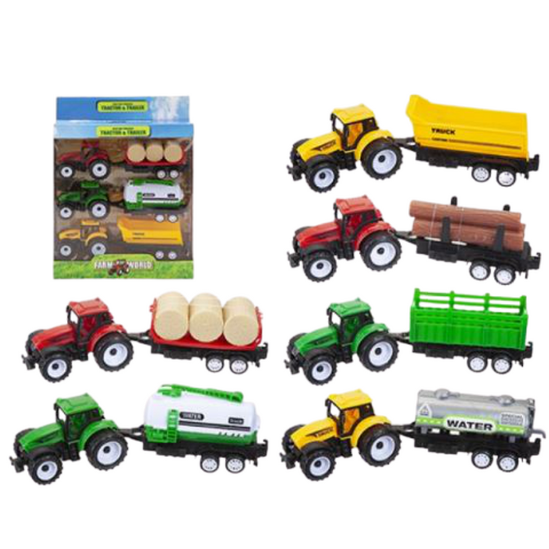 Farm World Tractor & Trailer Toy Set 3pcs