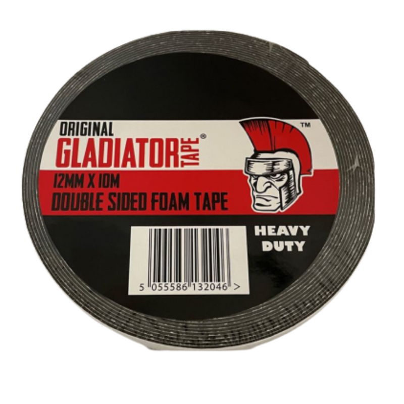Gladiator Heavy Duty Double Sided Foam Tape 12mm x 10m 5055586132046