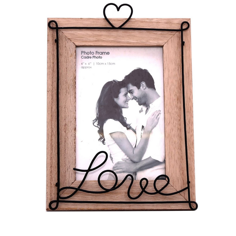 Distressed Wooden Love Wire Photo Frame 4x6""