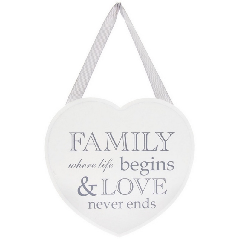 """Family, Where Life Begins & Love Never Ends"" Grey & White Heart Plaque 5010792444093"