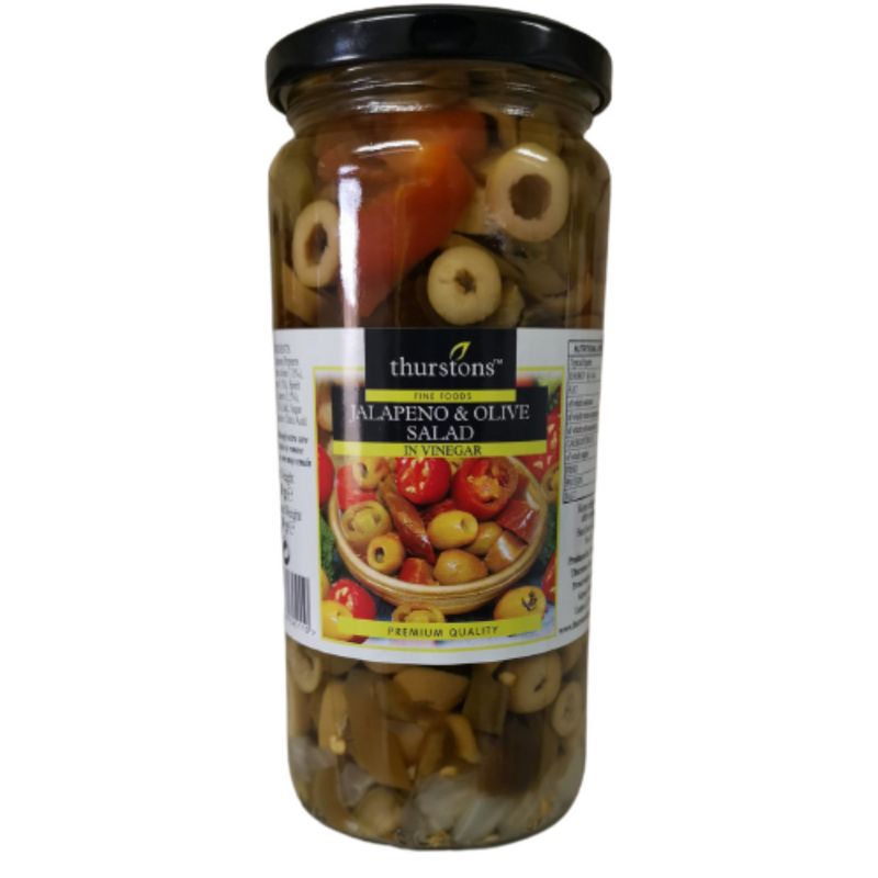 Thurstons Red Jalapeno Peppers & Olive Salad In Vinegar 480g 5060046645110