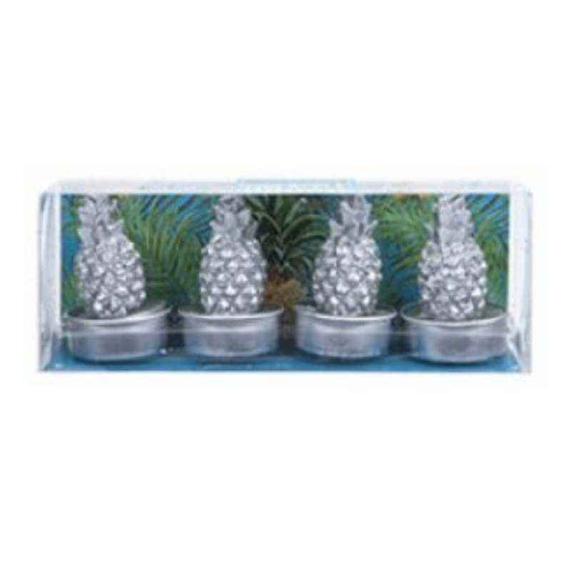 Pineapple Punch Metallic Silver Tea Lights 4 Pack By The Candle Factory