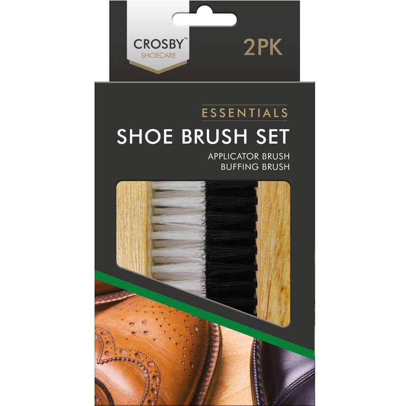 Crosby Shoecare Essentials Shoe Brush Set 2pk