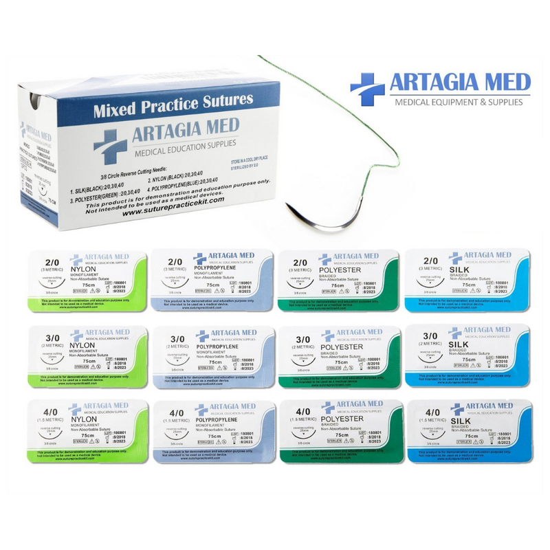 Artagia Med Medical Practise Sutures with Needles 12pcs