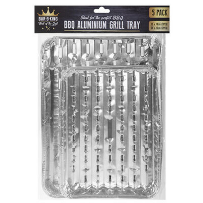 BBQ Aluminium Grill Trays In 2 Sizes 5 Pack