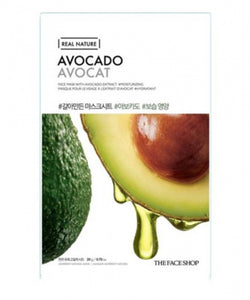 The Face Shop Real Nature Korean Face Mask 1Pc 20g Avocado Avocat | Offer 2 For £1