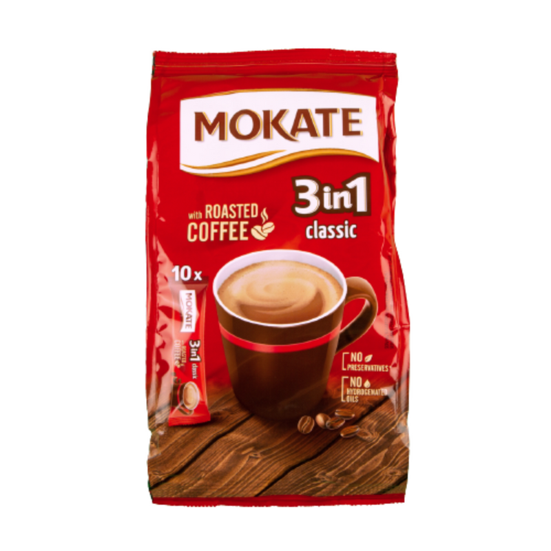 Case Of 10 x Mokate 3in1 Classic With Roasted Coffee 10 Sachets