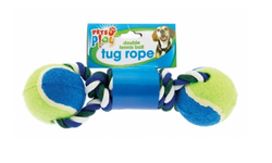 Pets Play Double Tennis Ball Tug Rope