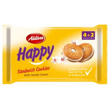 Case Of 12 x Aldiva Happy Sandwich Cookies With Vanilla Cream 4+2 Value Pack