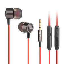Earphones,Q-YEE In-Ear Earbuds Heaphones with Mic Stereo Bass with 3.5mm Jack headset (Red)