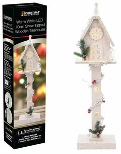 LED 70cm Snow Tipped Wooden Treehouse | Now 50% off only £5