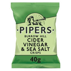 Pipers Crisps Burrow Hill Cider Vinegar & Sea Salt Crisps 40g Bag | 2 for £1