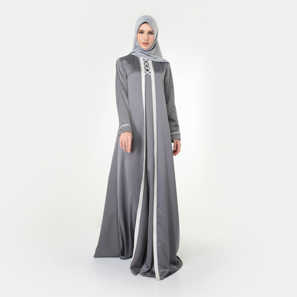 Silver Grey Asqira Evening Dress