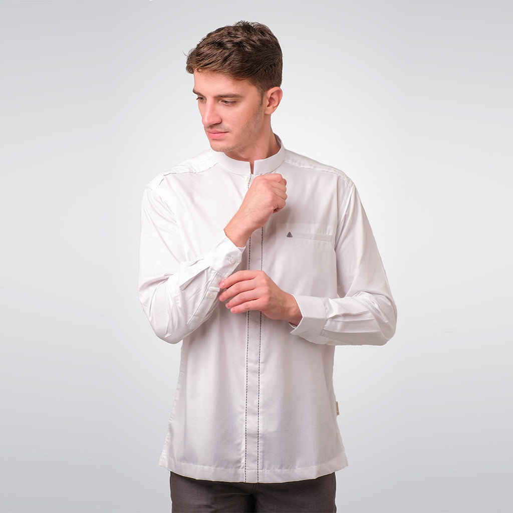 White Long Sleeve Alfalah Menswear