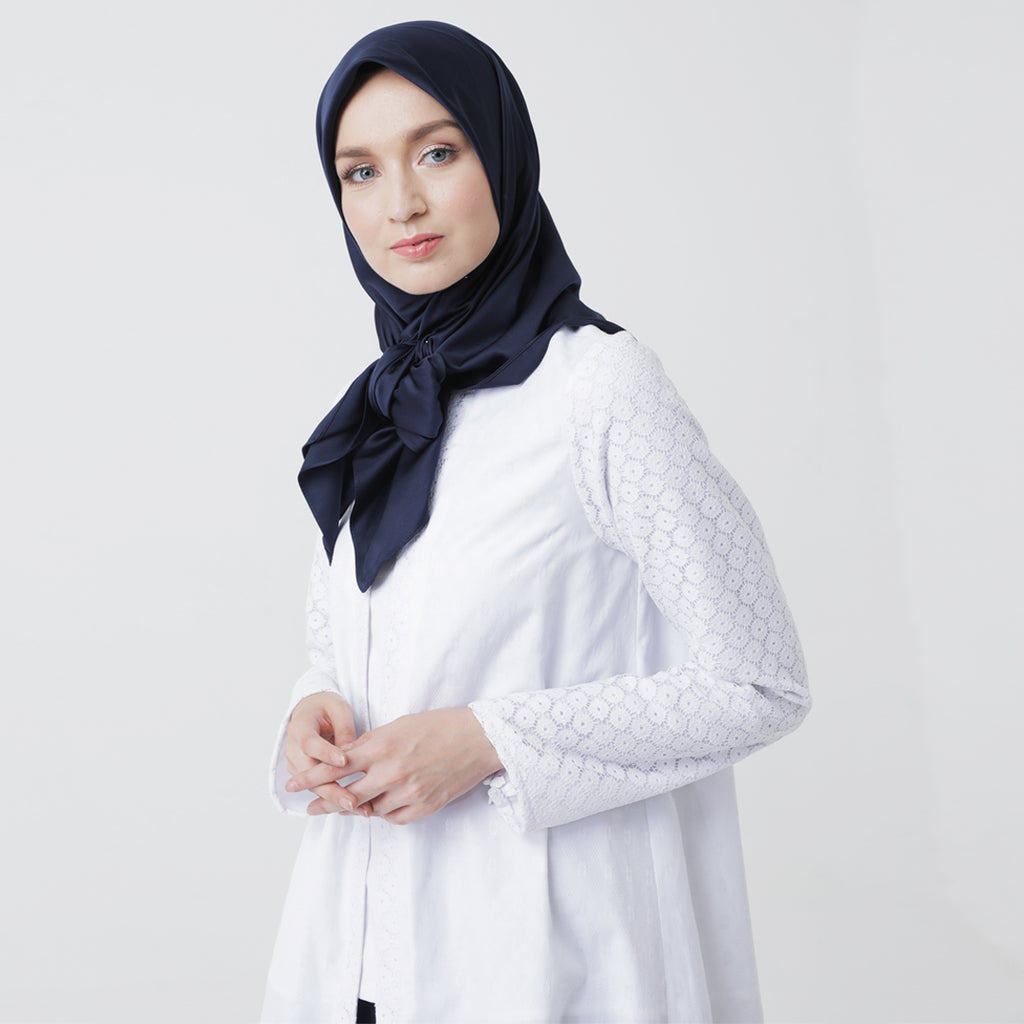 White Doby Blouse with Lace