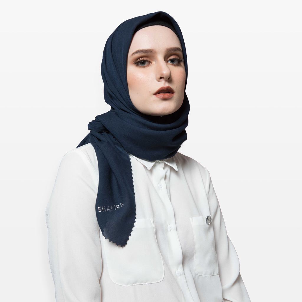 Navy Cut Out Myesha Scarf