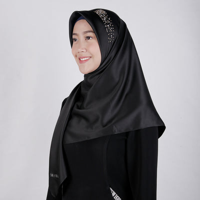 Satin Swarovski on Top Scarf Black