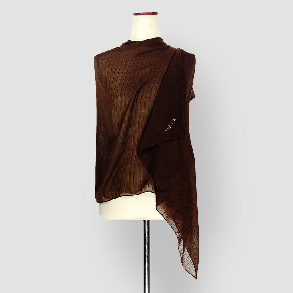 Textured Colorfull Shawl Brown