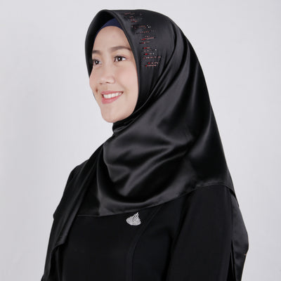 Satin Swarovski on Top Lined Motif Scarf Black