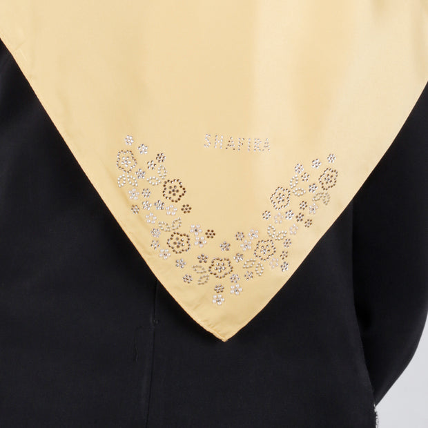 Satin Swarovski Flower Detail on Border Scarf Yellow