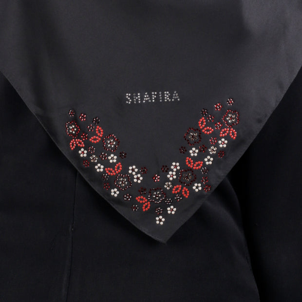Satin Swarovski Flower Detail on Border Scarf Black