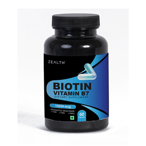 Zealth Biotin Maximum Strength Veg Capsule- 10,000 mcg- 60 Capsules