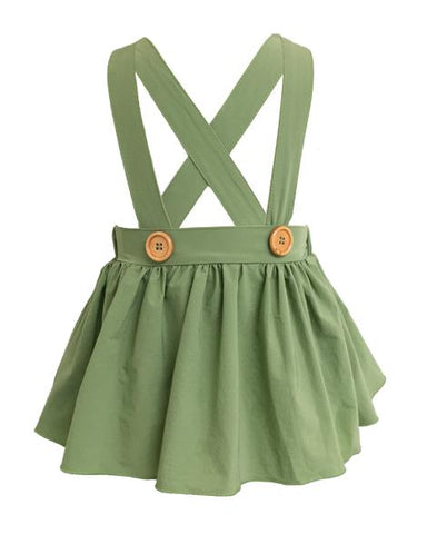 Pleated Suspender Skirt in Olive
