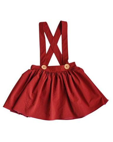 Pleated Suspender Skirt in Wine