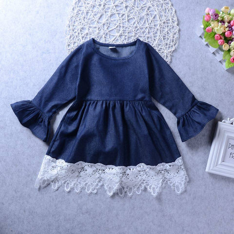 Denim Dress with Lace Detail