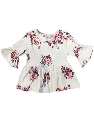 Floral Bell Sleeve Top in White